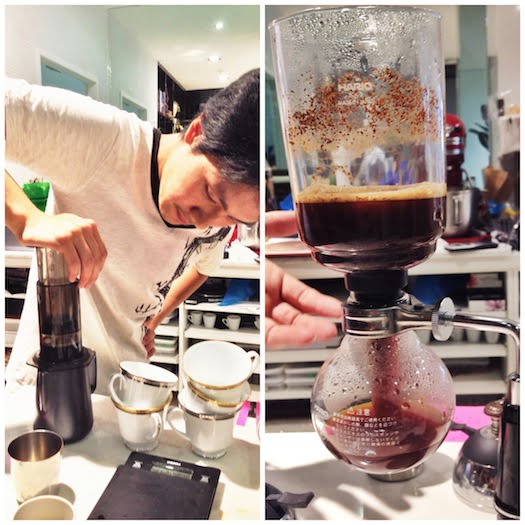 Jimmy working the aeropress and siphoning some coffee