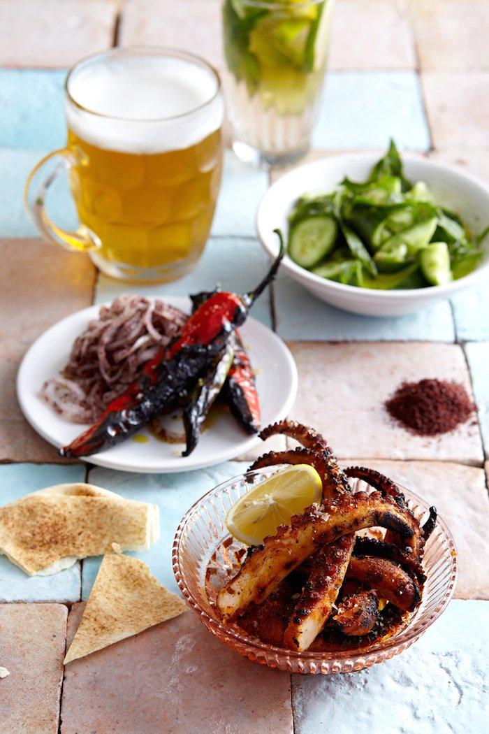 Coogee Pavilion rooftop food squid and beers