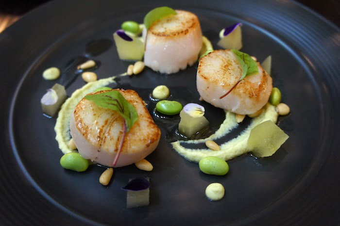 Seared Alaskan scallops, pureed edamame, compressed apple, beurre noisette, pine nuts