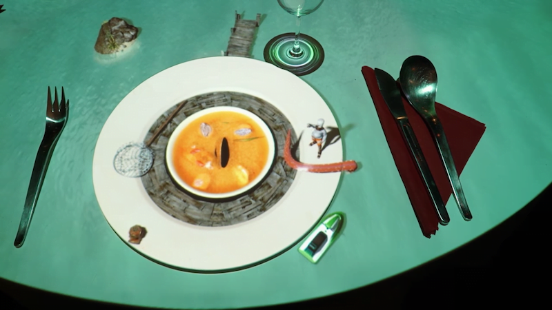 3D Projection mapping of Le Petit Chef, Miniature Chef creating french soup on table