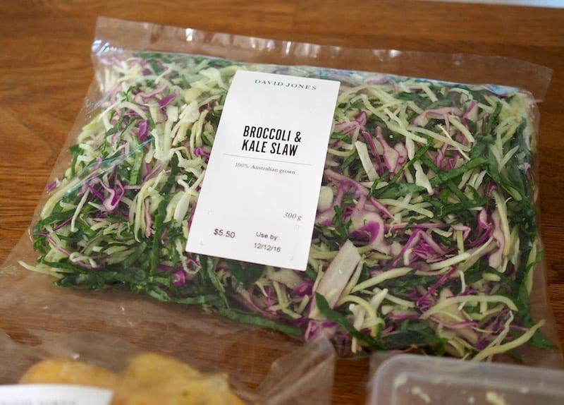 dinner party prep David Jones fresh range broccoli kale slaw