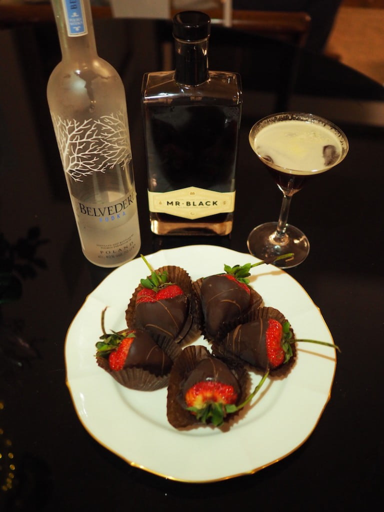 dinner party choc dipped strawberries espresso martini