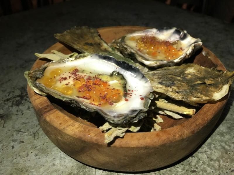 Barzaari sydney rock oyster- lemon pearl, roe, sumac