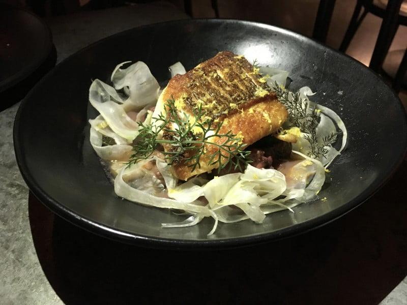 Barzaari market fish- aromatic braised octopus & black eye peas, fennel, lemon