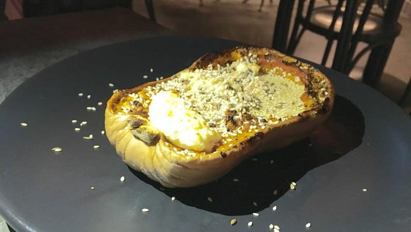 Barzaari roast pumpkin- iceberg, string cheese, radish, nigella