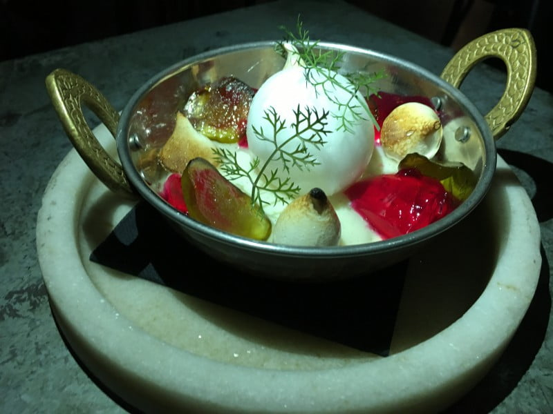 Barzaari muhallebi- arak sorbet, candied fig, meringue, rose