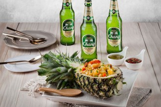 Chang Beer + Pineapple Fried Rice