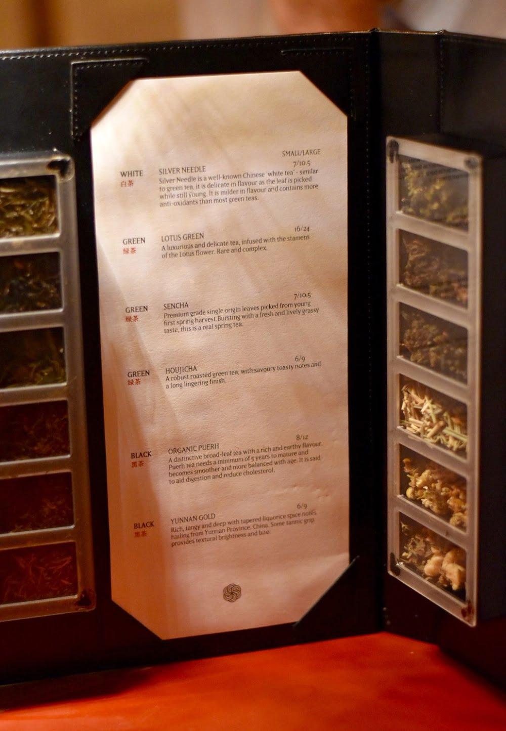 Jade temple tea selection
