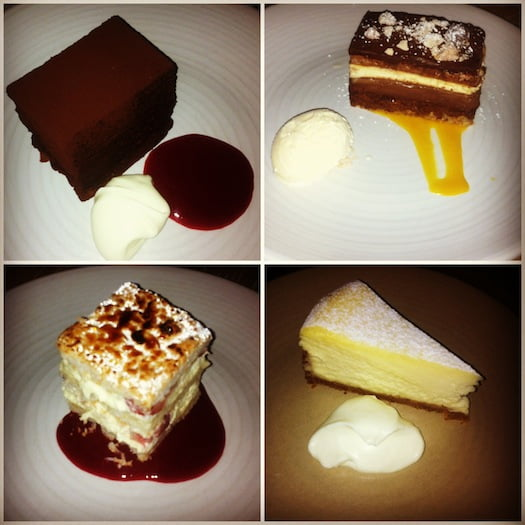 Clockwise from top right: Flourless Chocolate Cake, Ruby's Cale, New York Cheesecake, Strawberry Marscapone