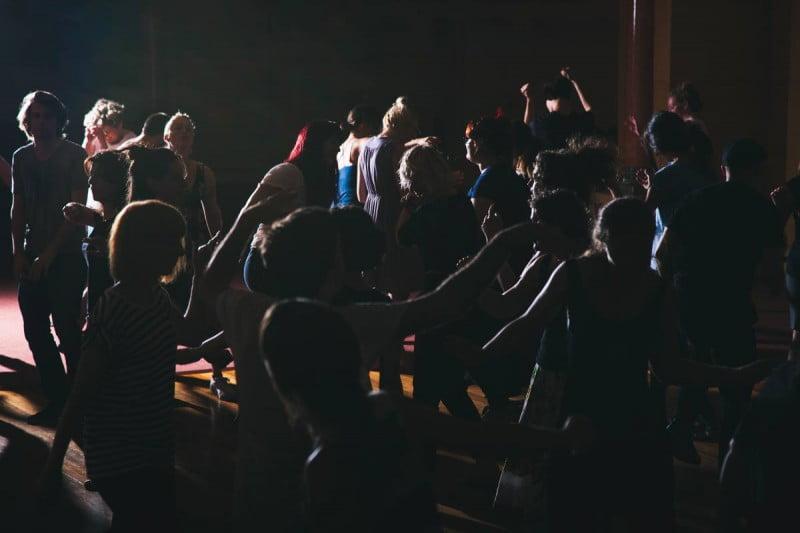 People dancing int he dark for No Lights No Lycra Event