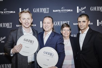 The team from Rockpool, Restaurant of the Year, chef Phil Wood, Neil Perry, Trish Richards and Jeremy Courmadias_sml