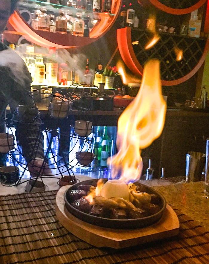 One Tea Lounge And Grill - 9+ Wagyu Beef Flaming Volcano and Gyokoru Smoked Octopus.