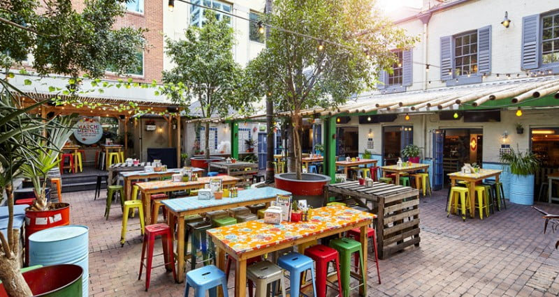 CBD Happy Hour, El Loco outdoor seating area
