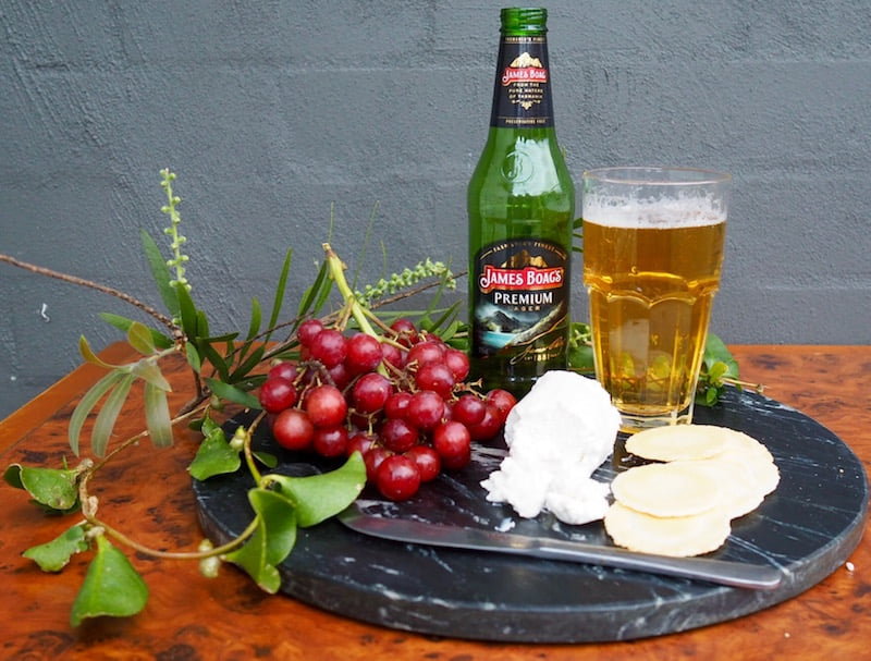 beer and cheese James Boag's Premium matched with fresh goats cheese