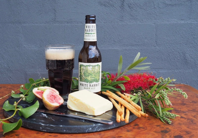 beer and cheese White Rabbit Dark Ale with a smoked cheddar
