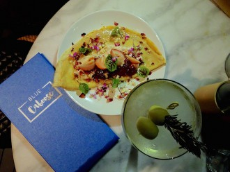 Blue Caboose crepe and martini