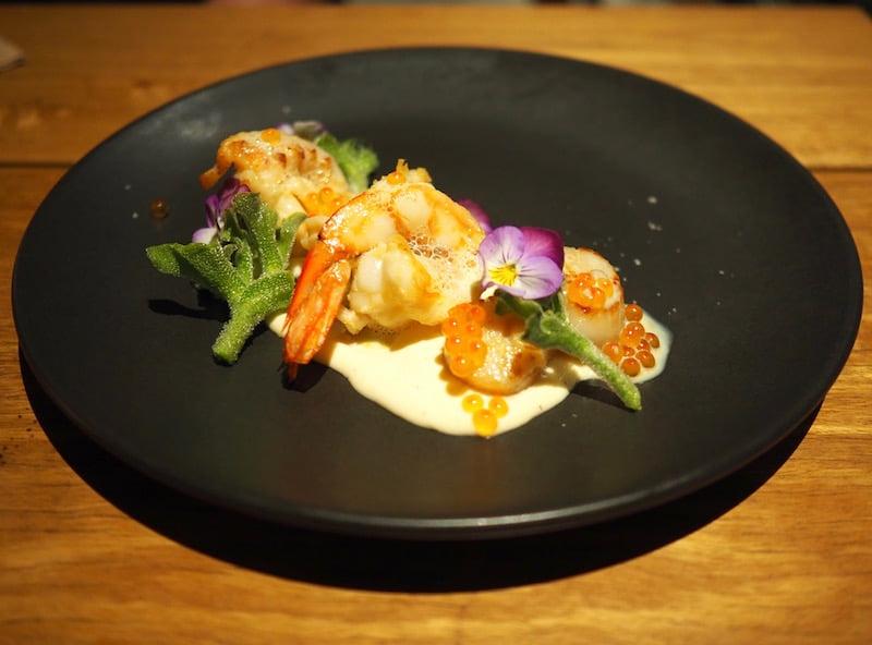 Zushi Baragaroo prawn, scallop, Balmain bug